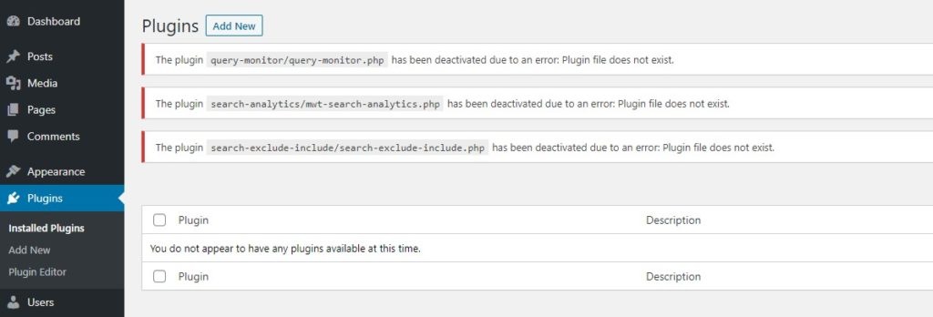 Plugins uninstalled notifications